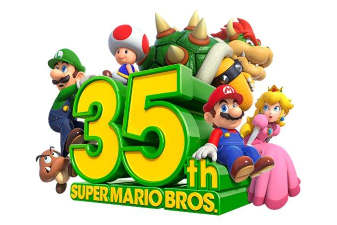 """Das Bild zeigt die Jubiläumszahl und einige Charaktere aus """"Super Mario 3D-All-Stars"""", welches eine limitierte Verkaufszeit erhielt."""