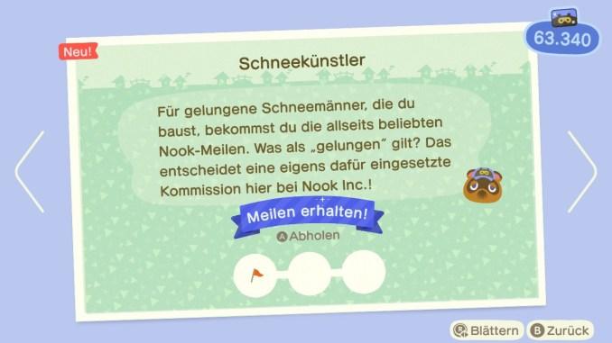 """Das Bild zeigt Meilen-Belohnung für perfekte Schneemänner in """"Animal Crossing: New Horizons""""."""