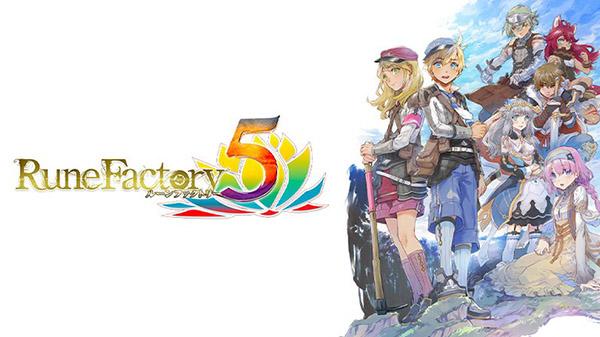 """Das Bild zeigt das Logo von """"Rune Factory 5"""". Es handelt sich um einen von vielen Farmsimulatoren."""