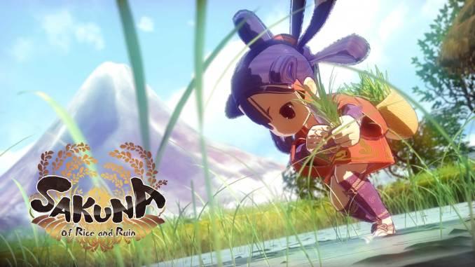 """Das Bild zeigt das Logo von """"Sakuna: Of Rice and Ruin"""". Es handelt sich um einen von vielen Farmsimulatoren."""