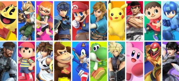 """Das Bild zeigt die Kämpfer aus """"Super Smash Bros. Ultimate""""."""