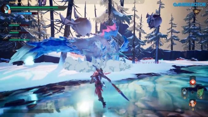 """Das Bild zeigt Monster die von unseremHelden angegriffen werden aus dem Spiel """"Dauntless Reforged"""""""