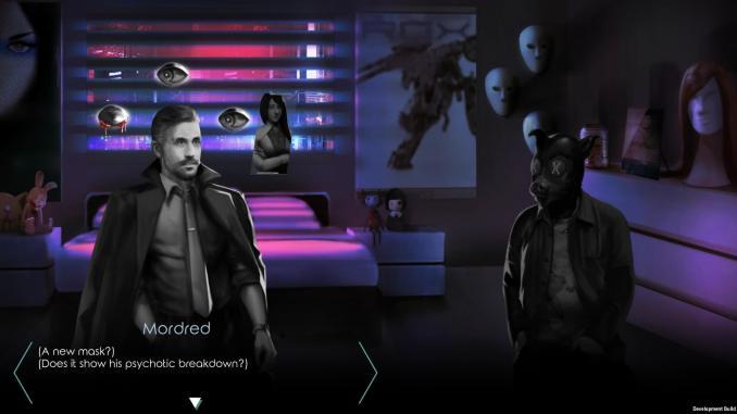 """Das Bild zeigt den Protagonisten mit einem anderen Charakter aus dem Spiel """"Dry Drowning""""."""