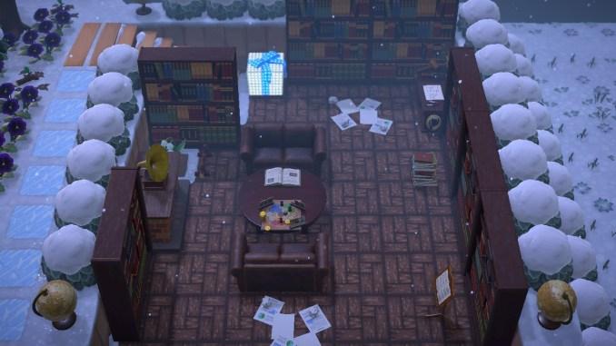 """Das Bild zeigt die selbst errichtete Bibliothek in """"Animal Crossing: New Horizons""""."""