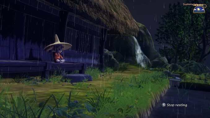 """Das Bild zeigt Sakuna beim Entspannen an einem Regentag. Es handelt sich um eine Suene aus dem Spiel """"Sakuna: Of Rice and Ruin""""."""