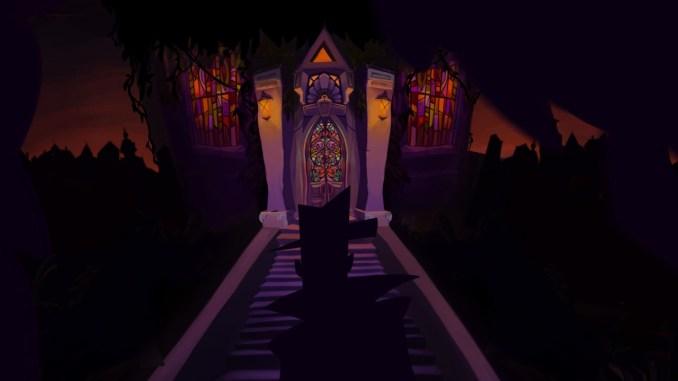 """Auf dem Bild des Spiels """"Gibbous – A Cthulhu Adventure"""" ist ein großes Gebäude mit bunten Glasfenstern zu erkennen."""