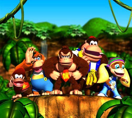 """Das Bild zeigt alle Charaktere aus dem Spiel """"Donkey Kong 64""""."""