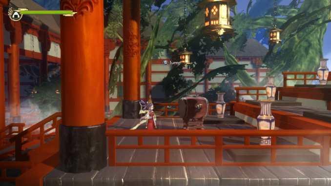 """Das Bild zeigt die erste Jump`n`Run-Passage des Spieles """"Sakuna: Of Rice and Ruin""""."""