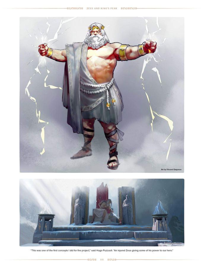 """Das Bild zeigt eine Szene aus dem Buch """"The Art of Immortals Fenyx Rising""""."""