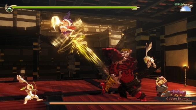 """Das Bild zeigt eine Suene aus dem Spiel """"Sakuna: Of Rice and Ruin""""."""