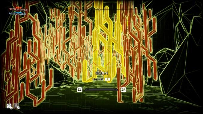 """Auf diesem Bild zum Spiel """"Journey to the Savage Planet"""" ist eine Scanfunktion (überwiegend gelb/rot/schwarz dargestellt) zu sehen."""