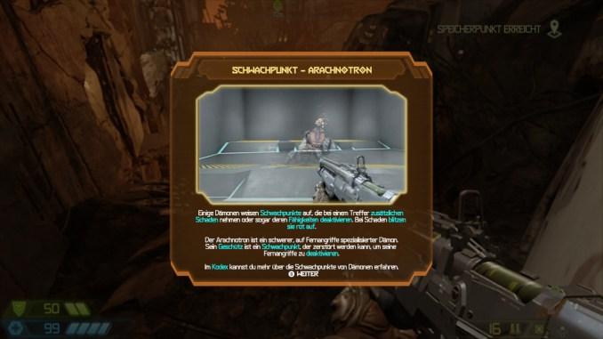 """Auf diesem Bild des Spiels """"Doom Eternal"""" ist ein Fenster mit einer mechanischen Spinne zu sehen."""
