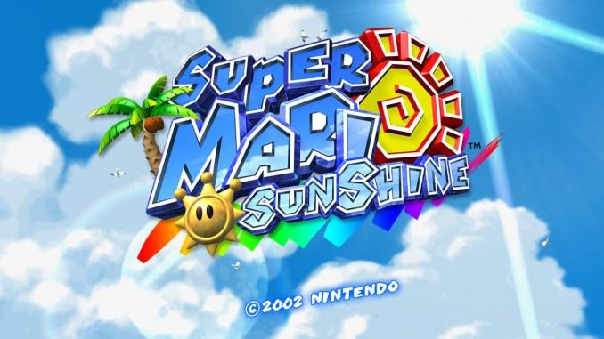"""Das Bild zeigt das Titelbild von """"Super Mario Sunshine"""" aus """"Super Mario 3D All-Stars""""."""