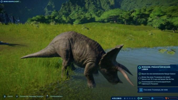 """Das Bild zeigt einen Dinosauriere in dem Spiel """"Jurassic World Evolution: Complete Edition""""."""