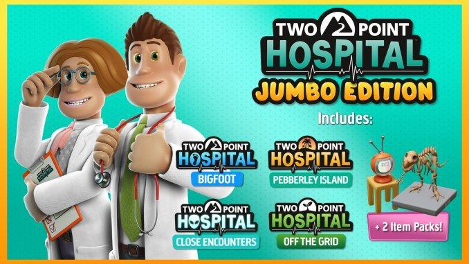 """Das Bild zeigt das Logo des Spieles """"Two Point Hospital: JUMBO Edition""""."""