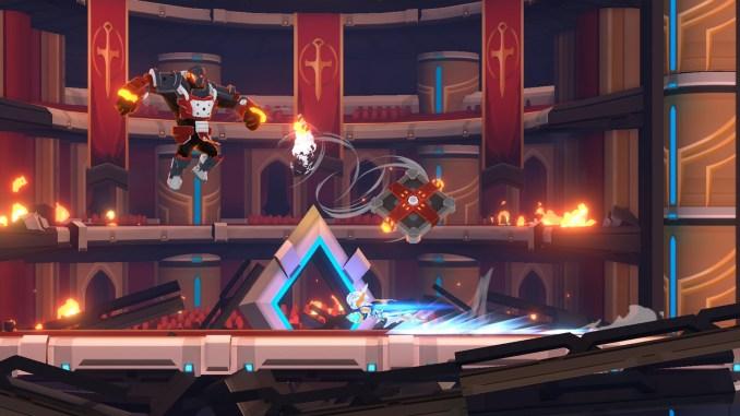 """Das Bild zeigt den Helden, der mit einem Dash dem gegnierischen Angriff ausweicht aus """"Fallen Knight"""""""