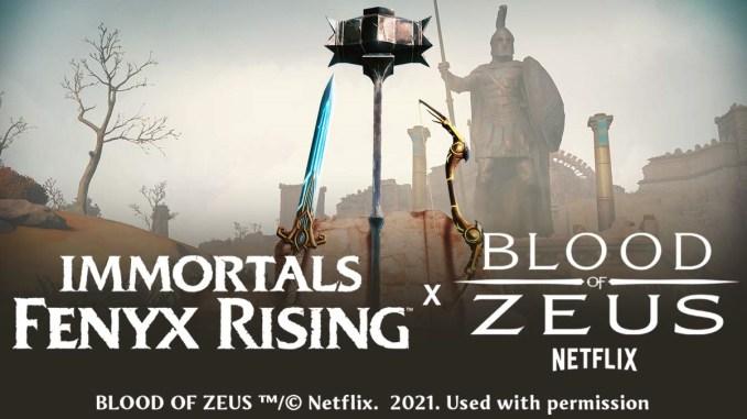 Das Bild zeigt das Set an Waffen für das Crossover von Immortals Fenyx Rising und Blood of Zeus