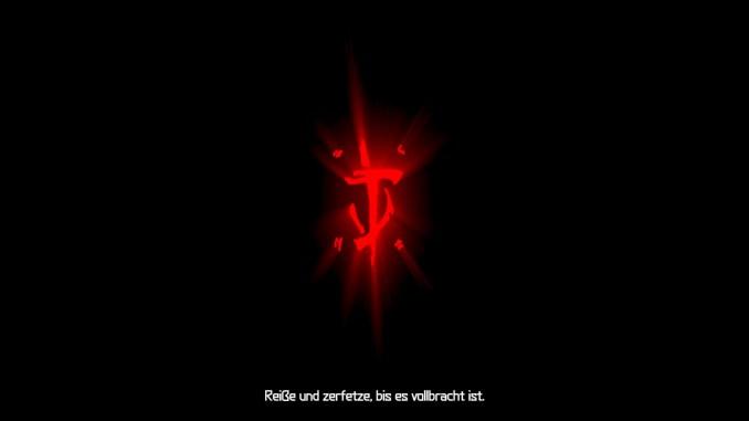 """Auf diesem Bild des Spiels """"Doom Eternal"""" ist ein rotes Symbol vor schwarzem Hintergrund zu sehen."""