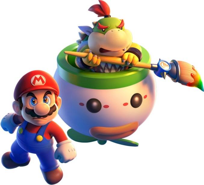 """Das Bild zeigt die entschlossen wirkenden Mario und Bowser Jr. In """"Bowser's Fury""""."""