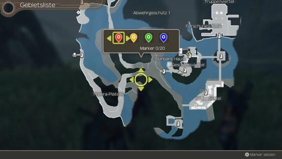 Das Bild zeigt die Map und die Möglichkeit, Marker zu verwenden bei Xenoblade Chronicles