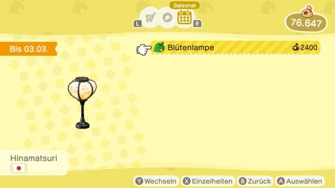 """Das Bild zeigt die Blütenlampe für 2.400 Sternis im update 1.8.0 für """"Animal Crossing: New Horizons""""."""