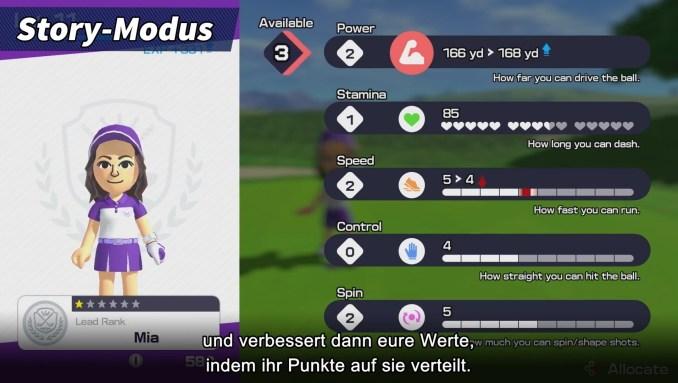 """Das Bild zeigt die Charakterwerte in """"Mario Golf: Super Rush""""."""