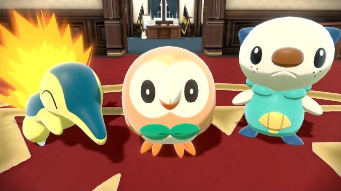 """Das Bild zeigt die Starter-Pokémon in """"Pokémon Legenden Arceus""""."""