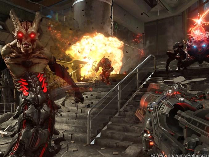 """Das Bild zeigt einen Dämon in """"Doom Eternal"""" – Bestandteil vom Bethesda Spring Sale."""