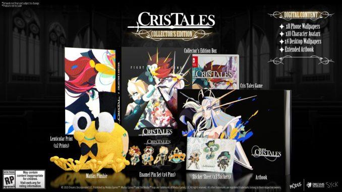 """Das Bild zeigt den Inhalt der Collector's Edition von """"Cris Tales""""."""