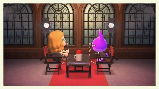 """Das Bild zeigt eine Unterhaltung mit Jens zum Gewinnspiel zum 1. Jubiläum von """"Animal Crossing: New Horizons""""."""