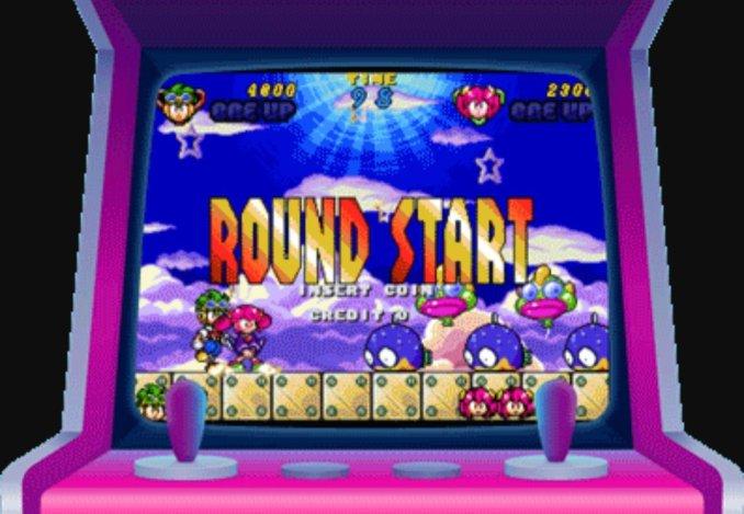 Das Bild zeigt uns einen Spielautomaten auf dem man das Spiel Clockwork Aquario spielen kann.