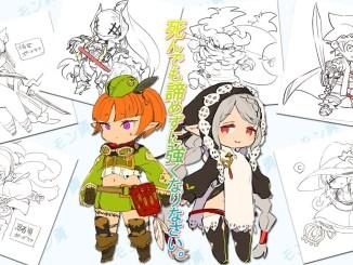 Das Bild zeigt zwei Charaktere aus dem Spiel Monyuu. Im Hintergrund sieht man Charakterdesinges