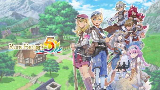 """Das Bild zeigt ein Artwork und das Logo des Spiel """"Rune Factory 5""""."""
