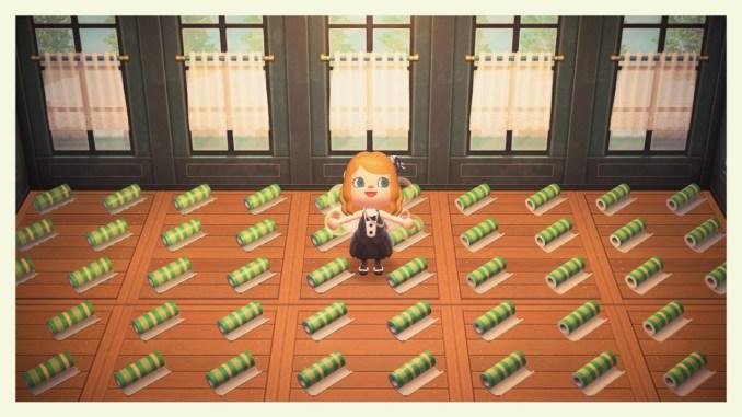 """Das Bild zeigt die Scheibengardienenwand und den Rustikalteppich, welche wir zu unserem Gewinnspiel zum 1. Jubiläum von """"Animal Crossing: New Horizons"""" verlosen."""