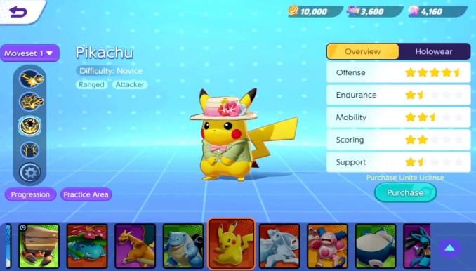 """Das Bild zeigt einen kostümierten Pikachu in """"Pokémon Unite""""."""