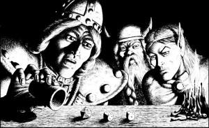 Auf diesem schwarz-weiß Bild sind mehrere Köpfe und ein tanzender Würfel zu sehen.