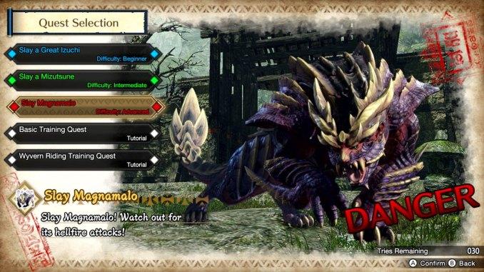 Das Bild zeigt das Monster Magnamalo aus der Monster Hunter Rise Demo