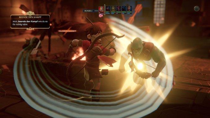 """Das Bild zeigt den Angriff eines Helden aus dem Spiel """"Naheulbeuk: The Amulet of Chaos""""."""