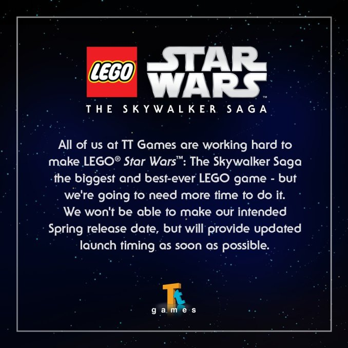 """Das Bild zeigt das Statement von TT Games zur erneuten Verschiebung von """"LEGO Star Wars: The Skywalker Saga""""."""