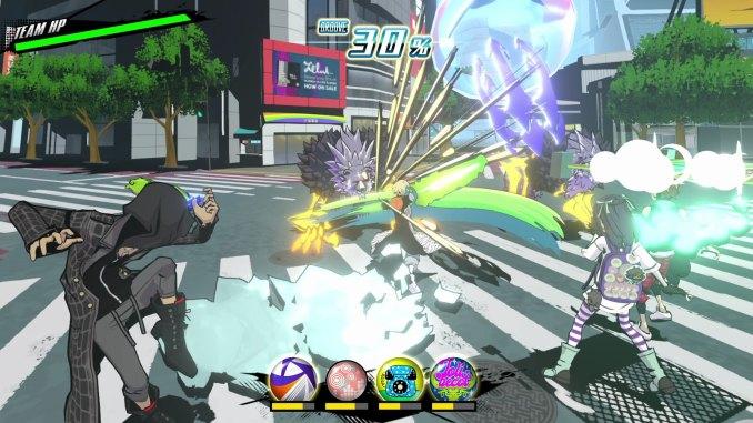 """Das Bild zeigt einen Kampf in """"Neo: The World Ends With You""""."""