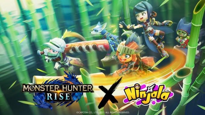 """Das Bild zeigt ein Artwork zum Thema """"Ninjala"""" trifft auf """"Monster Hunter Rise""""."""