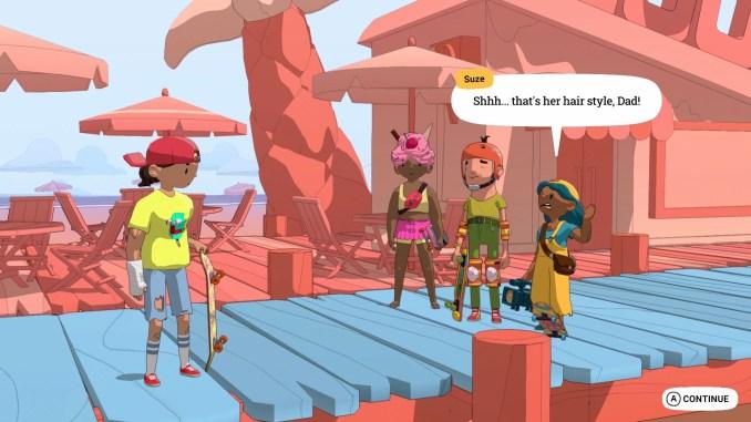 Das Bild zeigt den Protagonisten aus OlliOlliWorld im Dialog mit Freunden