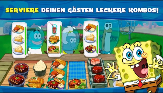 """Das Bild zeigt eine Szene aus """"SpongeBob: Krusty Cook-Off – Extra Krusty Edition""""."""