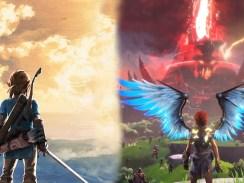 """Das Bild zeigt ein Artwork zu den Spielen """"Immortals Fenyx Rising"""" und """"The Legend of Zelda: Breath of the Wild""""."""
