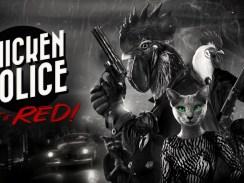 """Das Bild zeigt das Logo von """" Chicken Police – Paint it RED!""""."""