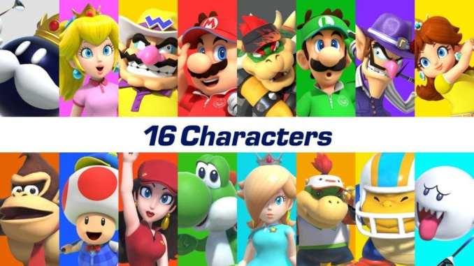 """Das Bild zeigt alle Charaktere zum Release von """"Mario Golf: Super Rush""""."""