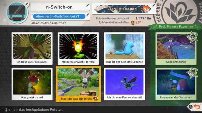 Das Bild zeigt mein Online-Profil bei New Pokémon Snap