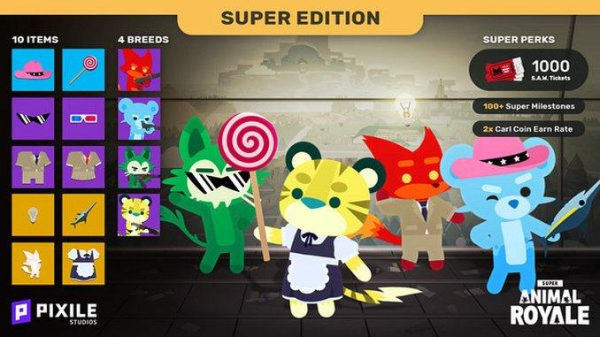 Das Bild zeigt den Inhalt der Super Animal Royale Super Edition