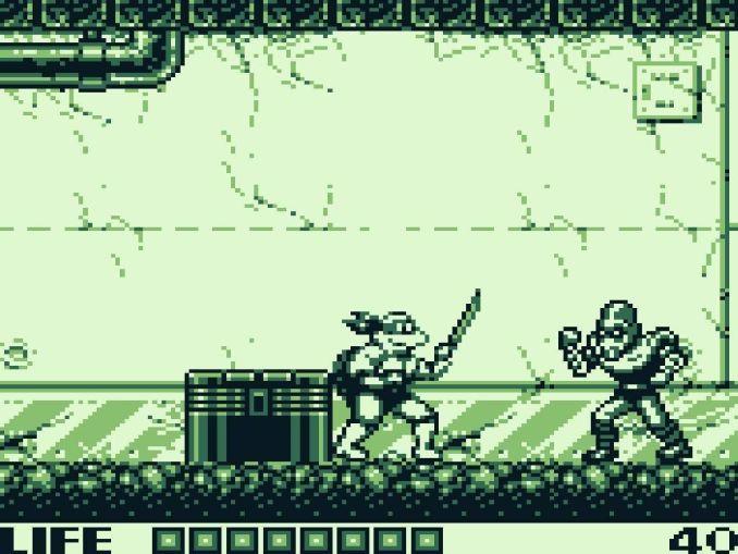 Das Bild zeigt eine Spielszene des Game Boy Spiels TMNT: Fall of the Food Clan von 1990.