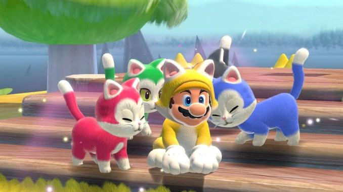 """Das Bild zeigt Katzen-Mario und die bunten Kätzchen in """"Bowser's Fury""""."""